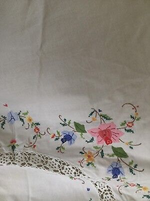 TABLECLOTH - 70cm ROUND APPLIQUE & EMBROIDERED CLOTH-WHITE w pink, blue yellow