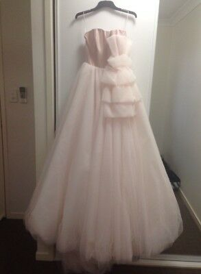 Steven Khalil Designer Wedding Dress Blush Soft Pink Tulle Skirt Long Train
