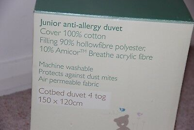 BNIB - Cot Bed Duvet - John Lewis, 4tog, 120x150cm Junior, Anit-allergy