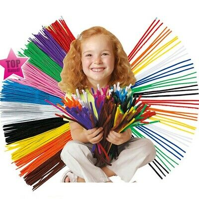 100pcs Long Chenille Stem Pipe Cleaners Tinsel 30cm Creative Farbenful Sticks