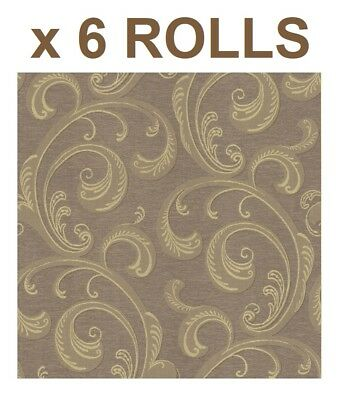 Gold Brown Damask Wallpaper Metallic Scroll Classic Paste The Wall x 6 Rolls