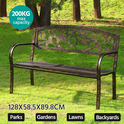 Steel Iron Bench Outdoor Garden Patio Park Porch Chair Seat Backyard Furniture