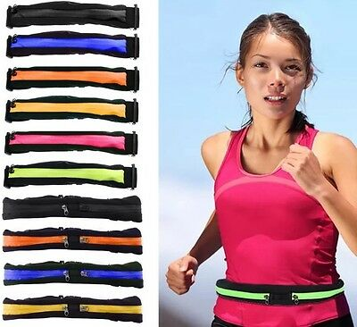 2 Zip Security Push Pocket Belt 4 Money Exercise Run Jog Sport Travel & Protect