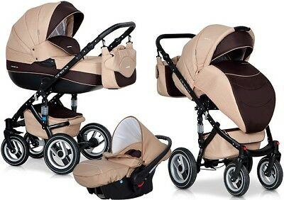 RIKO BRANO MOCCA PRAM 3in1 CARRYCOT + PUSH CHAIR + CAR SEAT