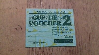 93) Liverpool fc ticket stub 1985/1986 season