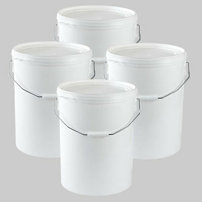 NEW - 4 X 25 Litre Plastic Bucket Pail With Snap On Lid & Handle - Food Grade