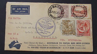 FANTASTIC  1934 NEW GUINEA 1st OFFICIAL AIR MAIL COVER - NO 3