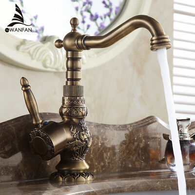 Basin Water Mixer Antique Brass Style Bathroom Rotate Faucet Single Handle Tap