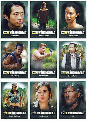 Walking Dead Season 4 Part 2 Character Bios Chase Insert 9 Card Set C10 to C18