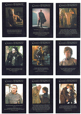 Game of Thrones Season 2 Quotable Complete 9 Card Chase Insert Set Q11 to Q19