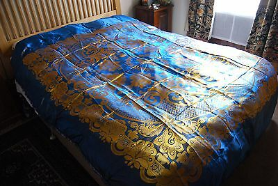 Vintage 1950s Stunning  Blue & Gold Double Bedcover
