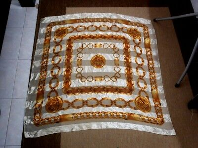 Women's Vintage CHANEL Gold chains coins scarf Square 38x38