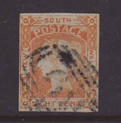 NSW 1853 8d Orange-Yellow with 4 Margins (3 being Clear Margins fine used, SG 80