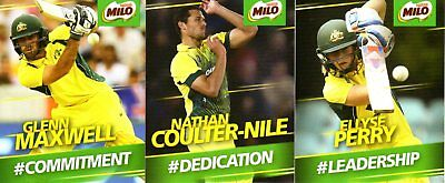 Milo Cricket Cards -  7 Nathan Coulter-Nile, 4 Glenn Maxwell, 8 Ellyse Perry