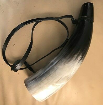 Re-enactment horn with mouthpiece and leather cord.
