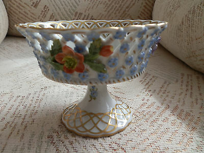Small Carl Thieme Dresden Flower Encrusted Reticulated Footed Bowl / Compote