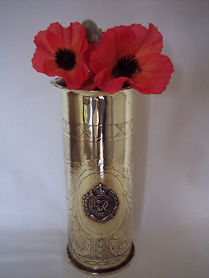 """WW1 Trench art German shell engraved Cherubs & """"Royal Engineers"""" dated 1915."""