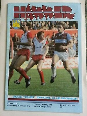 West Ham v Stoke City.  Div 1   1984/85