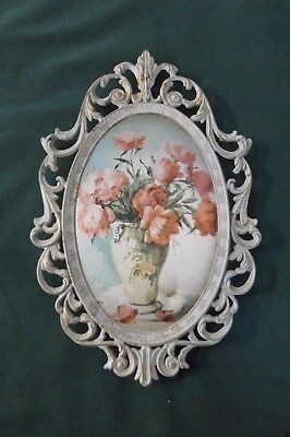 Vintage retro floral silk print in metal frame - Made in Italy