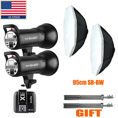 US 800w 2X Godox SK400 Studio Strobe Flash Light +Trigger F Wedding Party Photo