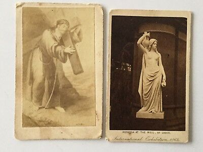 2 x CARDs - ANTIQUE - INTERNATIONAL EXHIBITION, 1862 -RELIGIOUS - STEREOSCOPIC