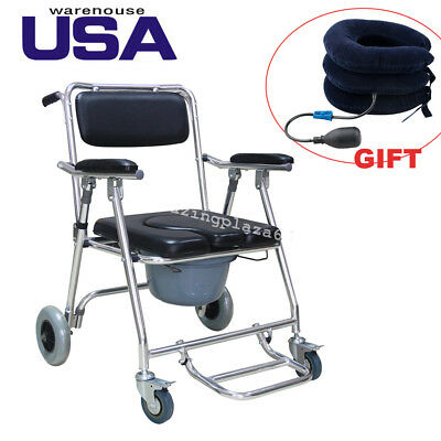 3 in1 Commode Wheelchair Bedside Toilet&Shower Chair Bathroom Rolling Chair+Gift
