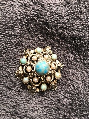 Antique Gold Brooch Turquoise Stones Stamped