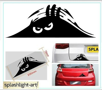 Peeking Monster eyes Car Vinyl Sticker Decal boot or bumper funny 20cm wide car