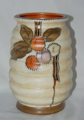 Vintage Charlotte Rhead Art Deco signed Circular Fruits Crown Ducal pottery vase
