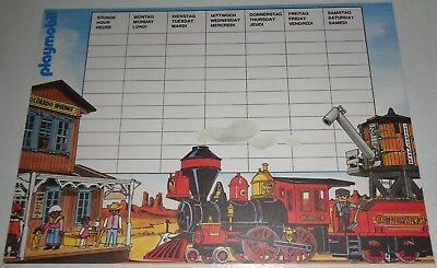 Vintage Playmobil late 1980s Stundenplan School Timetable Schedule 2-sided