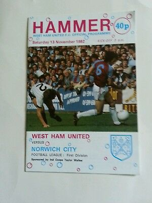 West Ham v Norwich City   div 1  1982/83