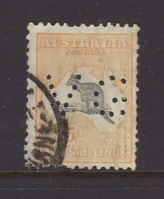"""1935 5/- Grey & Yellow C of A wmk Roo perforated """"VG"""" used, RARE!!"""