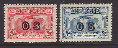 1931 Kingsford Smith 2d & 3d Ovpt OS Fine MLH, NO FAULTS.