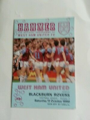 West Ham v Blackburn Rovers  div 2   1980/81