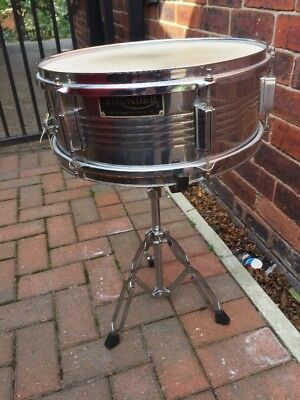 "Free P&P. 14x5"" Thunder Chrome Snare Drum Complete with Stand for Drum Kit."
