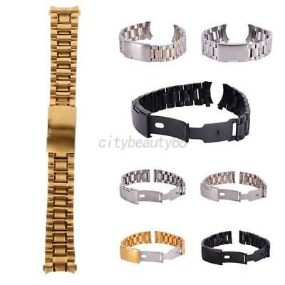 UK 18-24mm Stainless Steel Solid Watch Band Strap Bracelet Straight Curved End