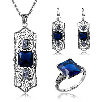 Classic 925 Sterling Silver Ring Earring Pendant Chains Women Blue Antique Rings