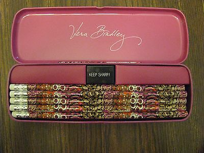 Vera Bradley Rosewood Pencil Set with Tin New Retails for $14.00