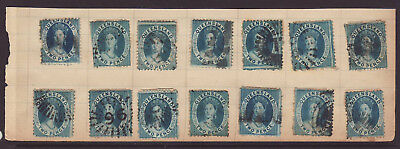 QUEENSLAND 1860-70 14 x 2d Blue hinged on Album page all used..