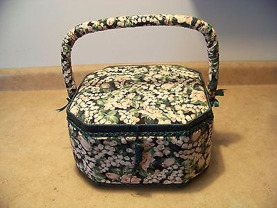 Vintage Padded  Sewing Basket,  Floral,w/padded Handles  Satin Interior Unique