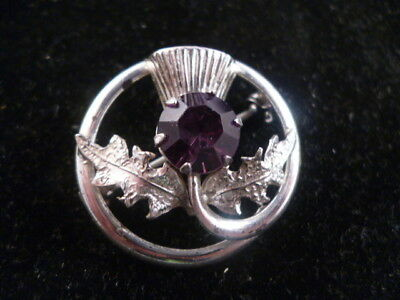 Vintage Sterling Silver Scottish Celtic Amethyst Glass Thistle Brooch