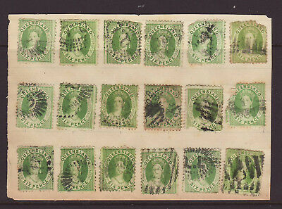 QUEENSLAND 1860-70 18 x 6d Green hinged on Album page all used..