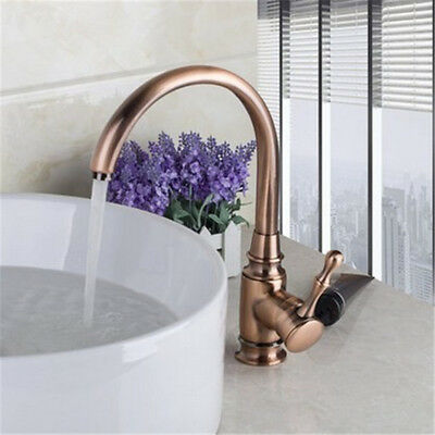 Luxury Antique Red Copper Kitchen Basin Sink Faucet Hot&Cold Water Mixer Tap UK