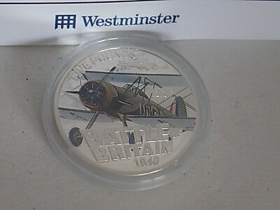 2010 Guernsey £5 Pound Battle Of Britain Gloster Gladiator Silver Proof Coin