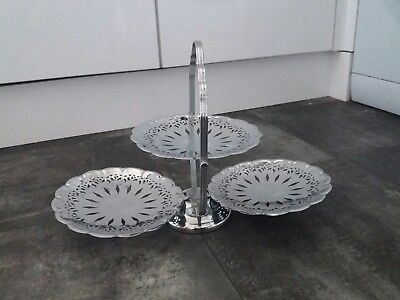Unusual Stainless Steel 3 Tier Cake Stand
