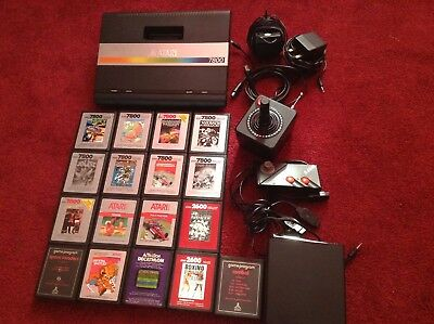 Atari 7800 Console bundle & games & wireless joystick fully working