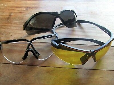 3 Pairs Clay Game Shooting Safety Sunglasses Glasses Clear Smoke Yellow Lenses