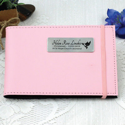Personalised Christening/Baptism Brag Album -Pink - Add a Name & Message