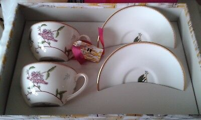 Wedgwood Mystical Creatures Kit Kemp tea cups and saucers, boxed
