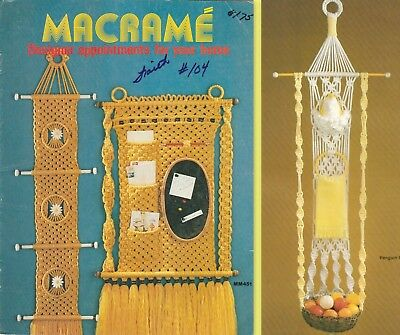 """Vintage 1980 Macrame Pattern Book """"macrame For You Home"""" 11 Projects"""